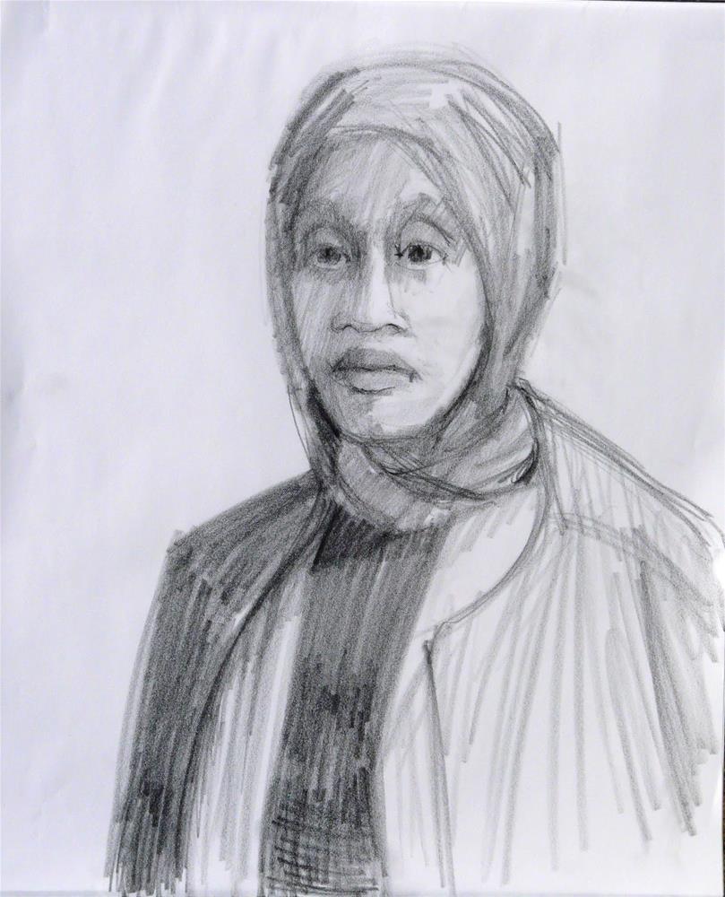 """Terisa the model,portrait,graphite pencil on paper,17x14,price$100"" original fine art by Joy Olney"