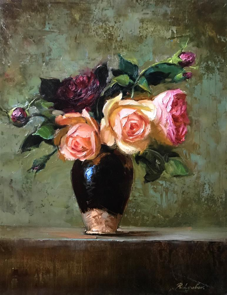 """Roses in the brown vase"" original fine art by Regina Lyubovnaya"
