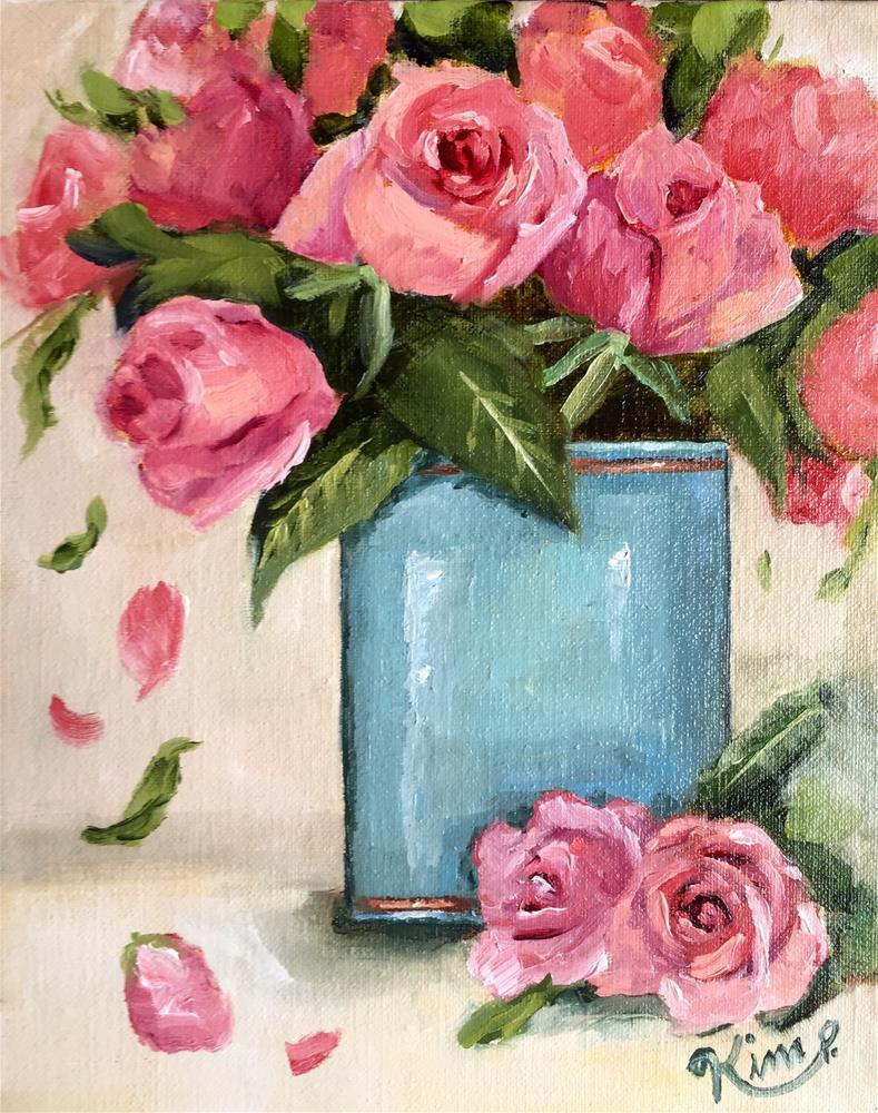"""Pink Roses in Teal Vase"" original fine art by Kim Peterson"