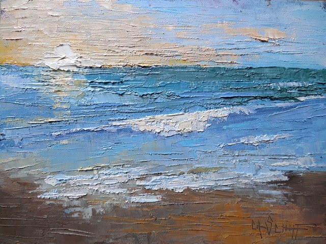 """Small Seascape with Sunrise Painting, Textured Palette Knife Art, 6x8 Oil Seascape"" original fine art by Carol Schiff"