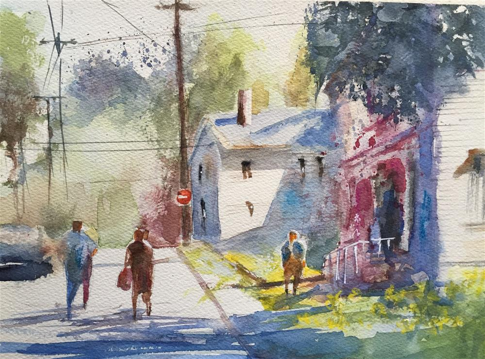 """STREET OF A VILLAGE IN USA"" original fine art by Ferran Llagostera"
