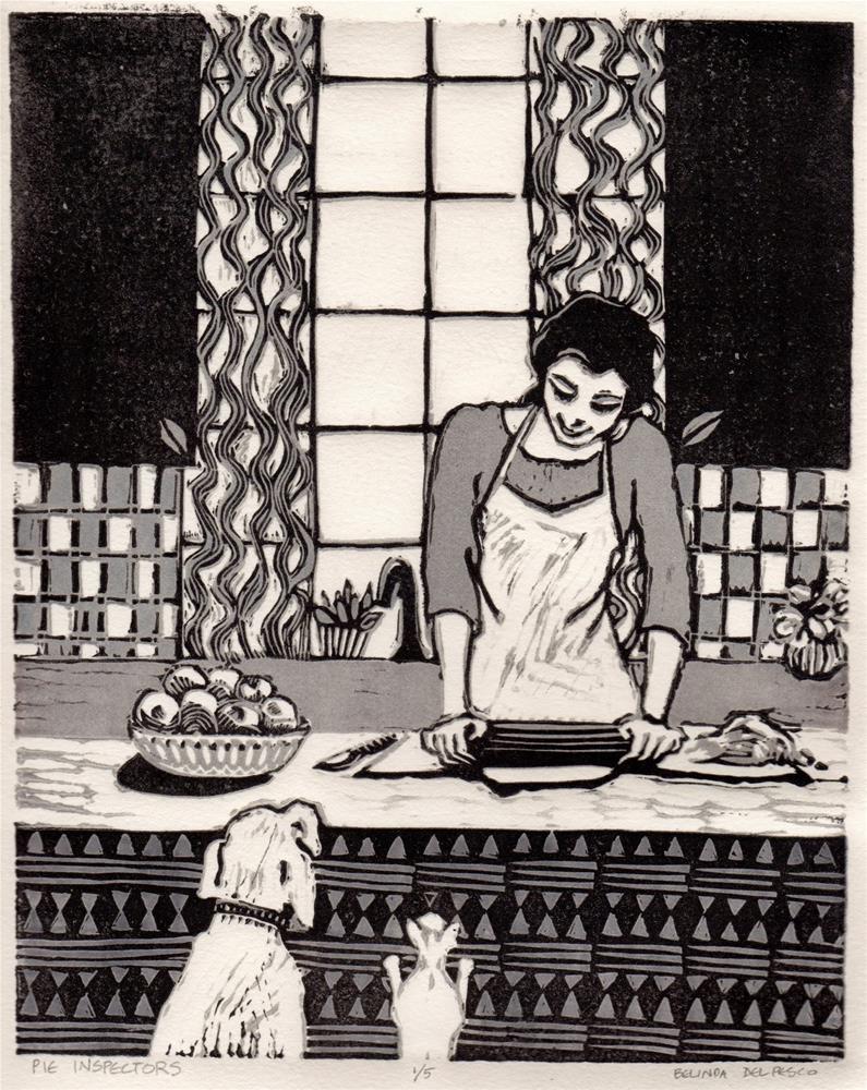 """Linocut: Pie Inspectors (& a new printmaking video)"" original fine art by Belinda Del Pesco"