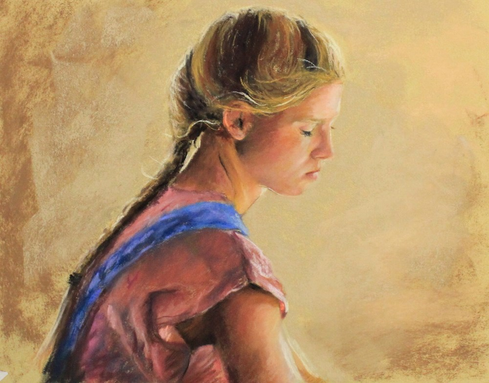 """Girl in profile "" original fine art by Marco Vazquez"