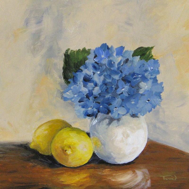 """Lemons with Hydrangea"" original fine art by Torrie Smiley"