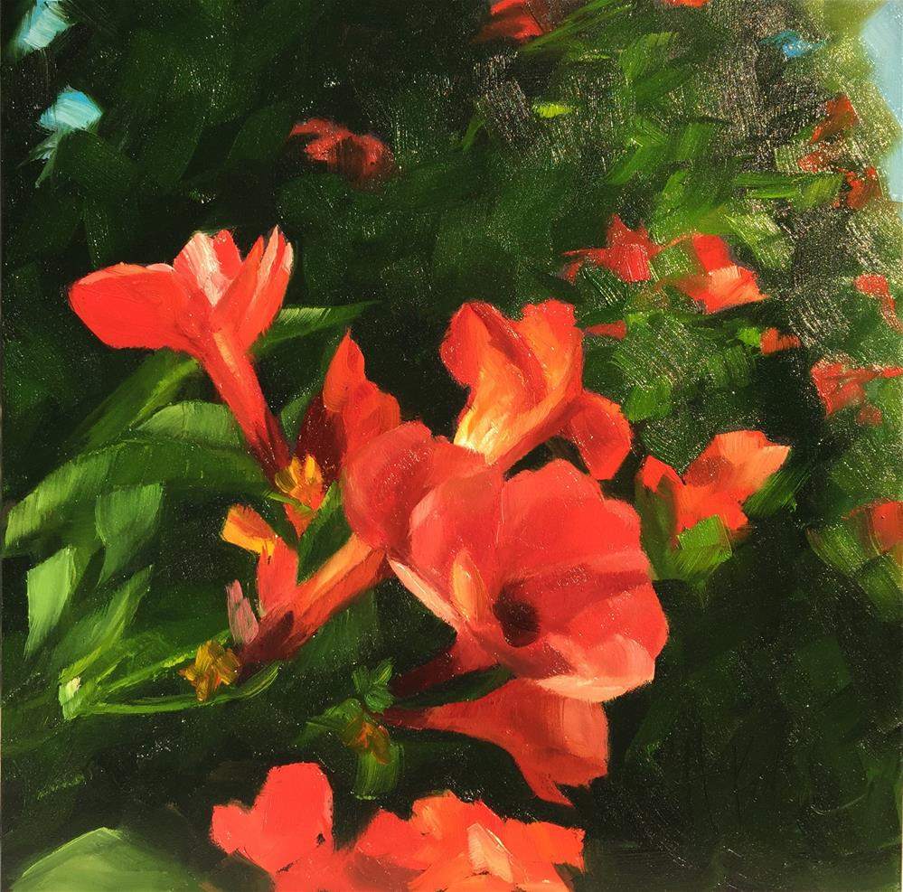 """Trumpet Vine"" original fine art by Hallie Kohn"