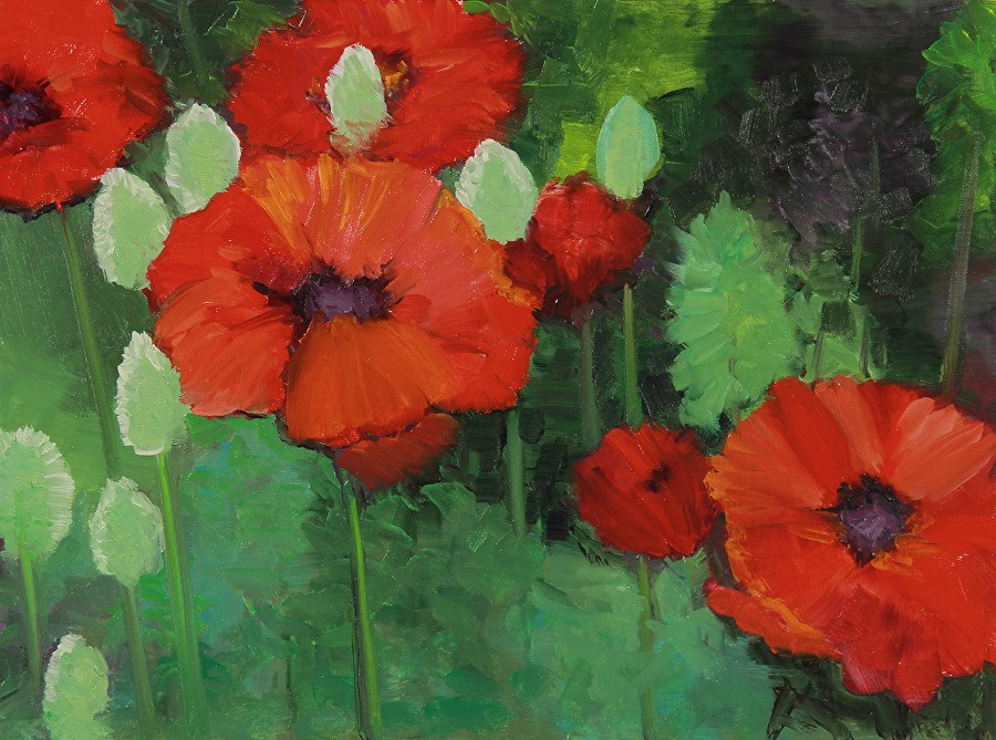 """Landscape Oil Painting, Red Poppies, Poppy Field Poppy Standing Tall by Colorado Artist Susan Fowl"" original fine art by Susan Fowler"