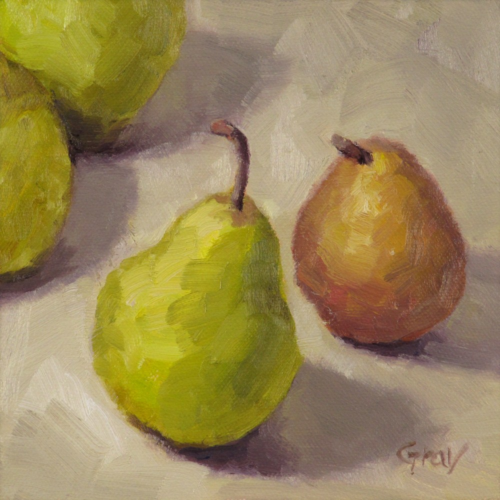 """A Pear Meets a Pear"" original fine art by Naomi Gray"