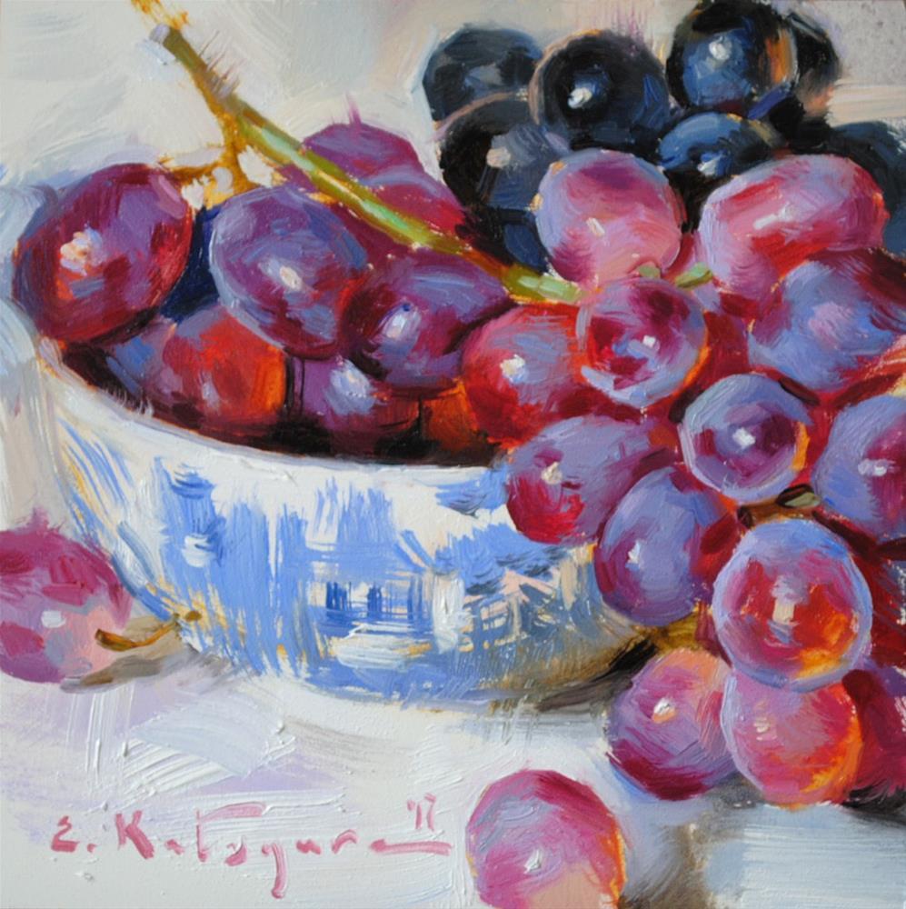 """Red and Black Grapes"" original fine art by Elena Katsyura"