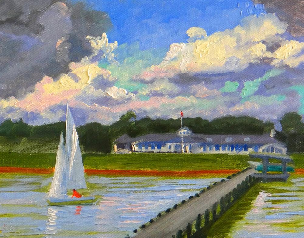 """""""Sailing Lesson at TCYC"""" original fine art by Nancy Paris Pruden"""