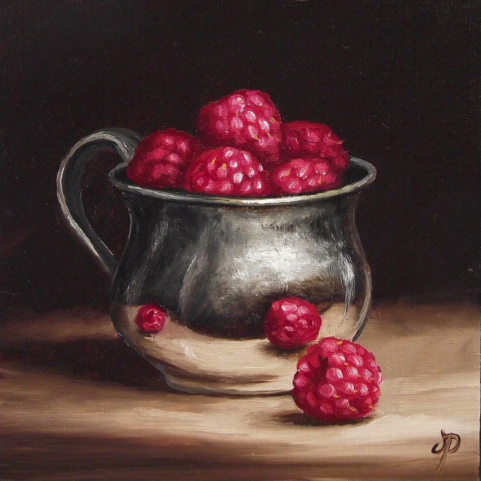 """Silver cup of raspberries"" original fine art by Jane Palmer"