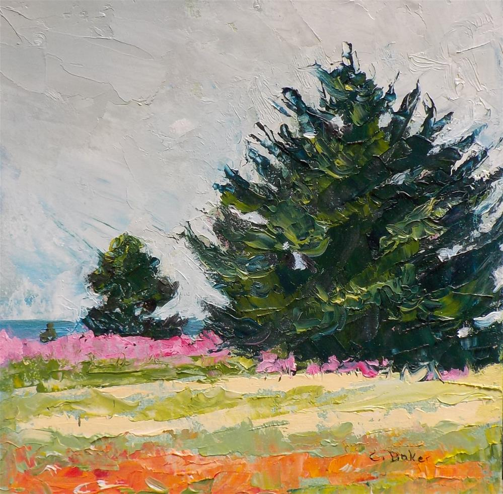 """Pine, Spruce and Fireweed"" original fine art by Carole Baker"