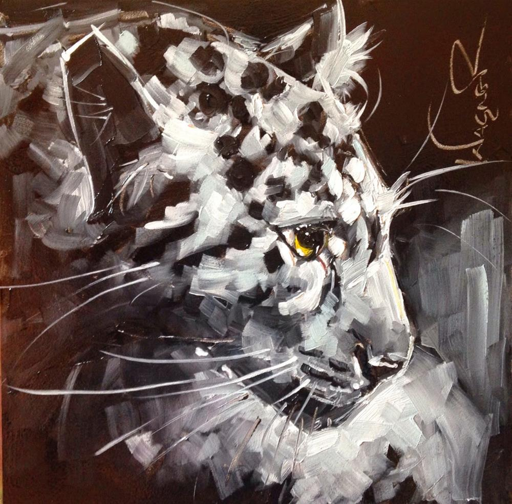 """CONTEMPORARY BIG CAT LEOPARD PAINTING in OILS by OLGA WAGNER"" original fine art by Olga Wagner"
