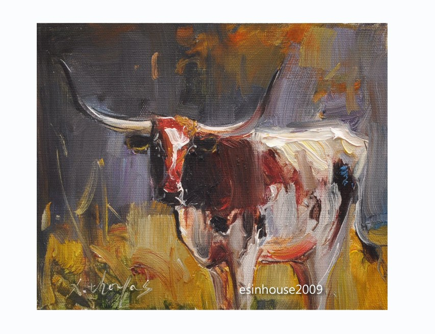 """8X10Texas longhorn Farm animals Cow Original Oil Painting the artist signed"" original fine art by Thomas Xie"