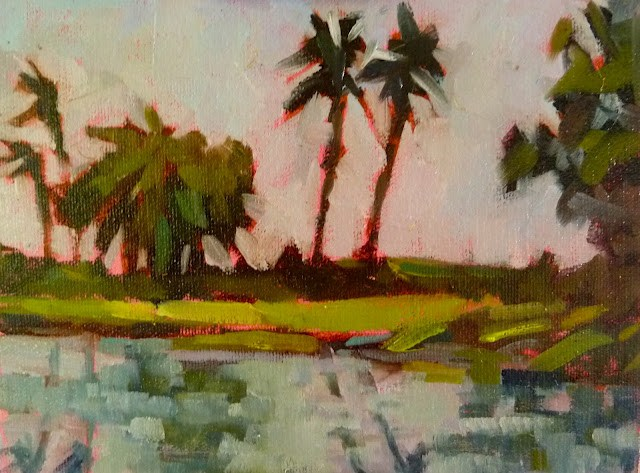 """Lowdermilk Park, Naples, FL 6x8 oil on Pintura panel This is one of my favorite spots along the beach in Naples. I toned the panel with Q. Rose to work with the greens."" original fine art by Mary Sheehan Winn"