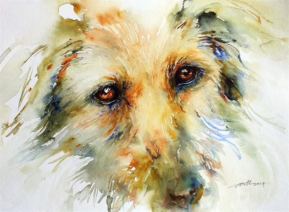 """Puppy Eyes"" original fine art by Arti Chauhan"