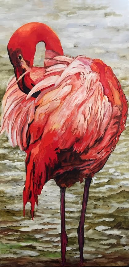 """Flamingo"" original fine art by Nan Johnson"