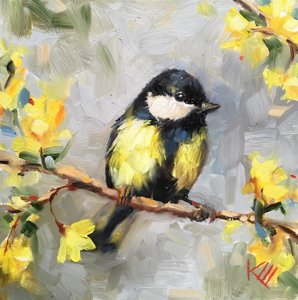 """Great Tit"" original fine art by Krista Eaton"