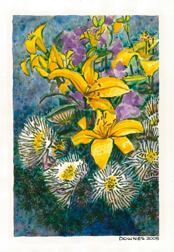 """207 CLASSIC FLOWERS 9"" original fine art by Trevor Downes"