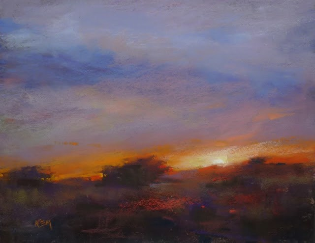 """Tips for Painting a Magical Sunset"" original fine art by Karen Margulis"
