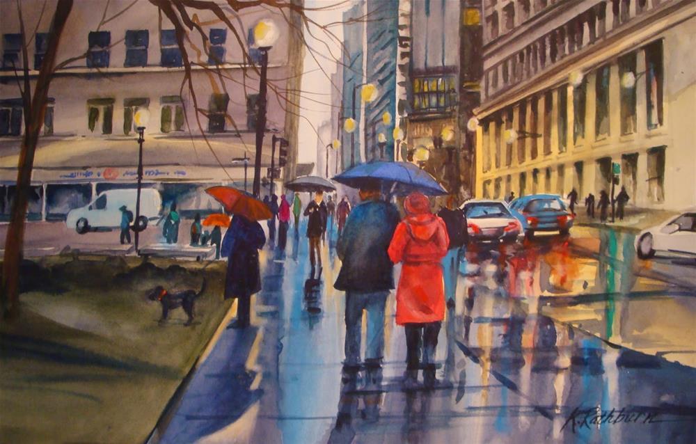 """Rainy Windy City"" original fine art by Kathy Los-Rathburn"