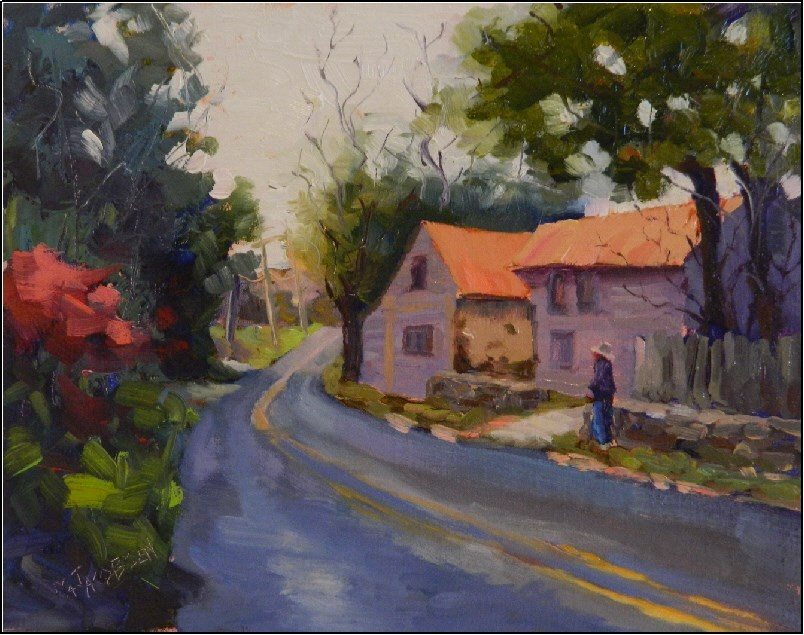 """Along St. Matthews Rd., 11x14, paintings of Chester Springs, Pennsylvania, old barns, country road"" original fine art by Maryanne Jacobsen"