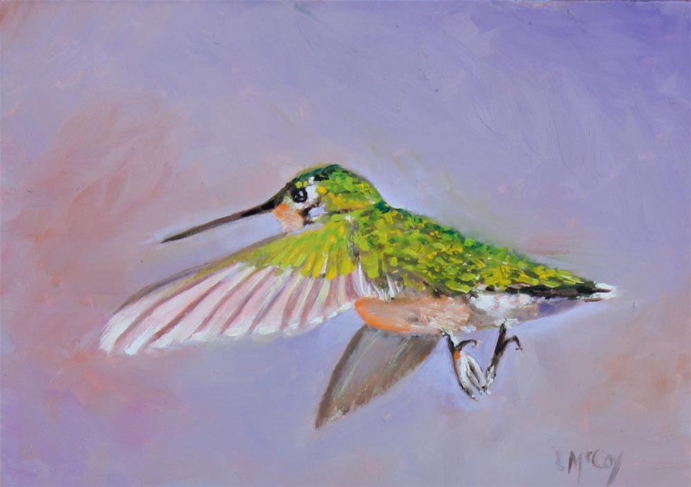 """Happy Feet, Hummingbird Oil Painting"" original fine art by Linda McCoy"
