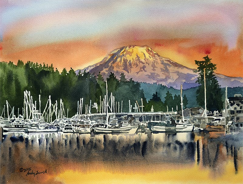 """Gig Harbor Glow"" original fine art by Andy Sewell"