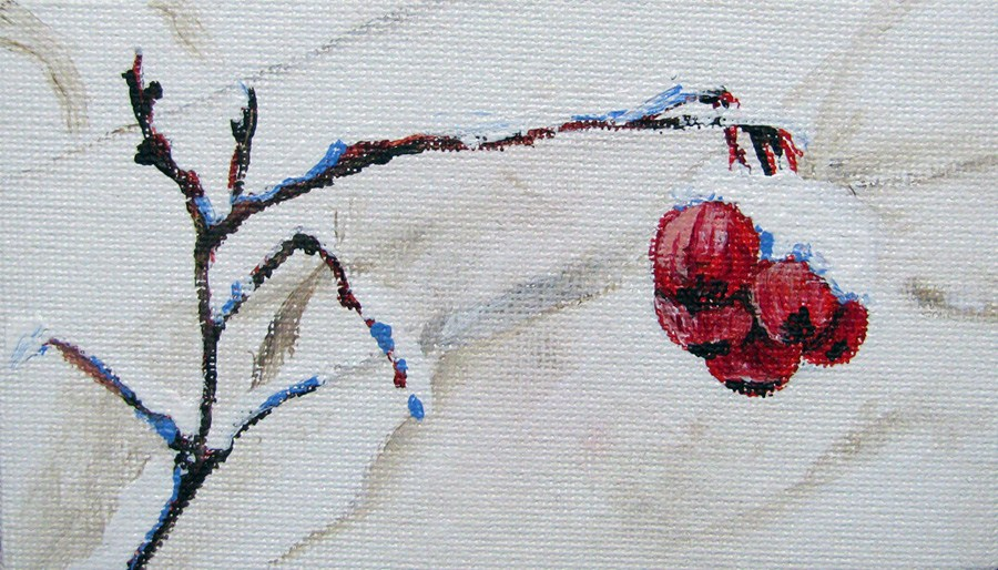 """""""Red Berries with Snow"""" original fine art by Nan Johnson"""