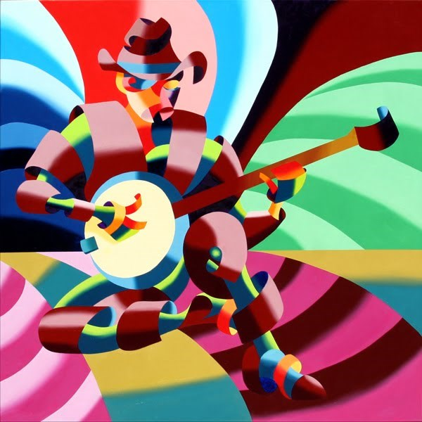 """Mark Webster - The Futurist Cowboy Banjo Player - Abstract Oil Painting"" original fine art by Mark Webster"