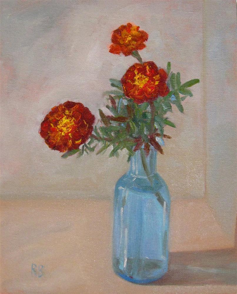 """""""Marigolds in Blue Vase"""" original fine art by Robie Benve"""