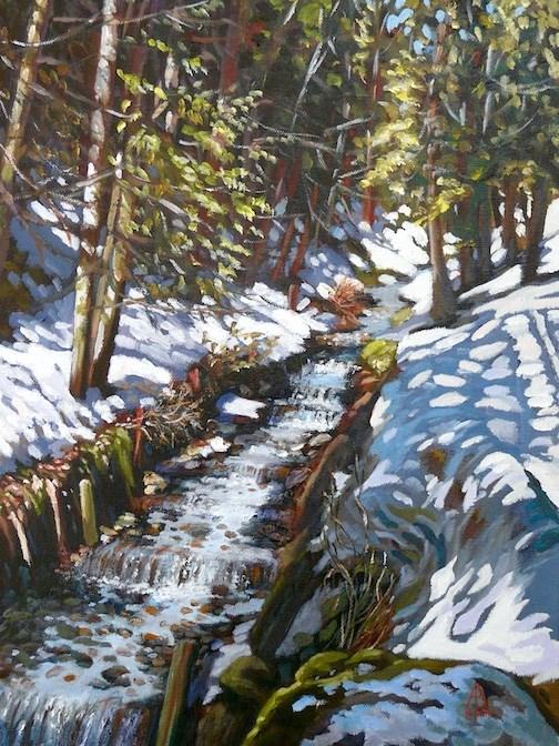 """Alpine stream"" original fine art by Alix Baker"