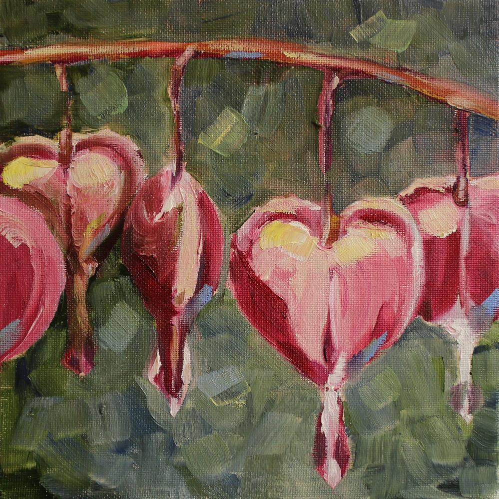 """Bleeding Hearts Dark"" original fine art by Tess Lehman"