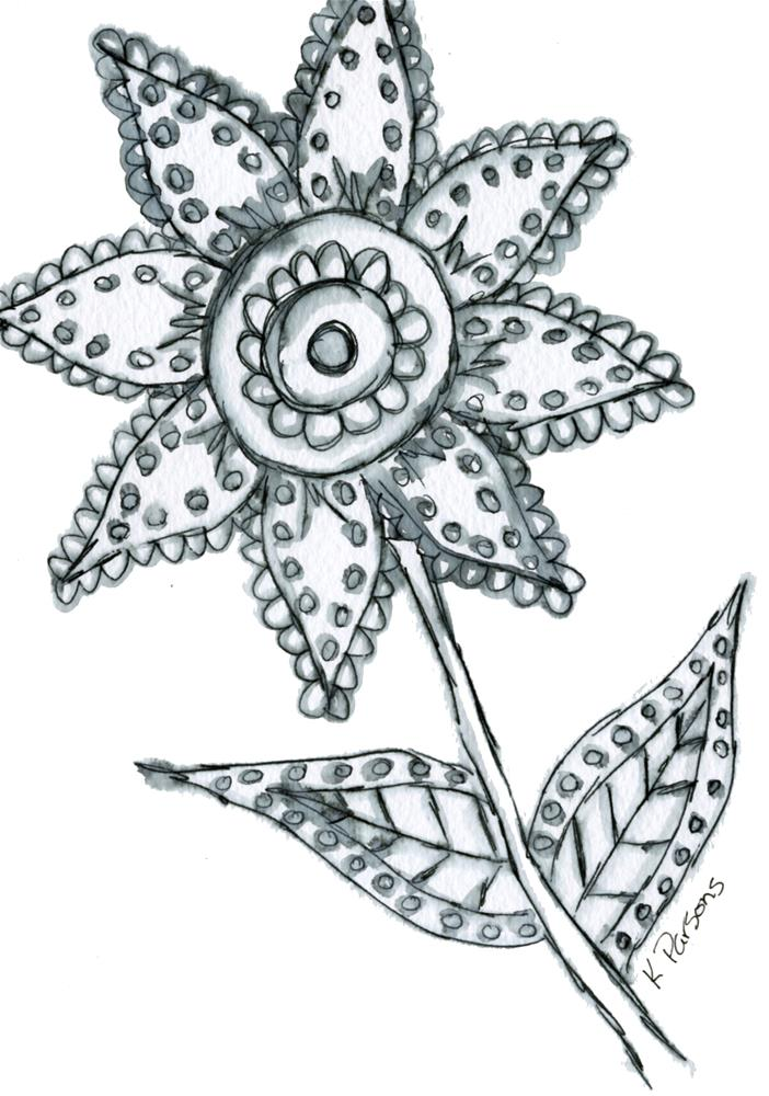 """Doodle Flower"" original fine art by Kali Parsons"