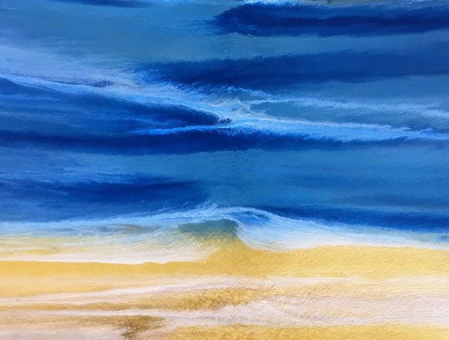 """Contemporary Seascape,Abstract Beach Art, Beach Dreams-Azurean and Gold IV by Colorado Contemporar"" original fine art by Kimberly Conrad"