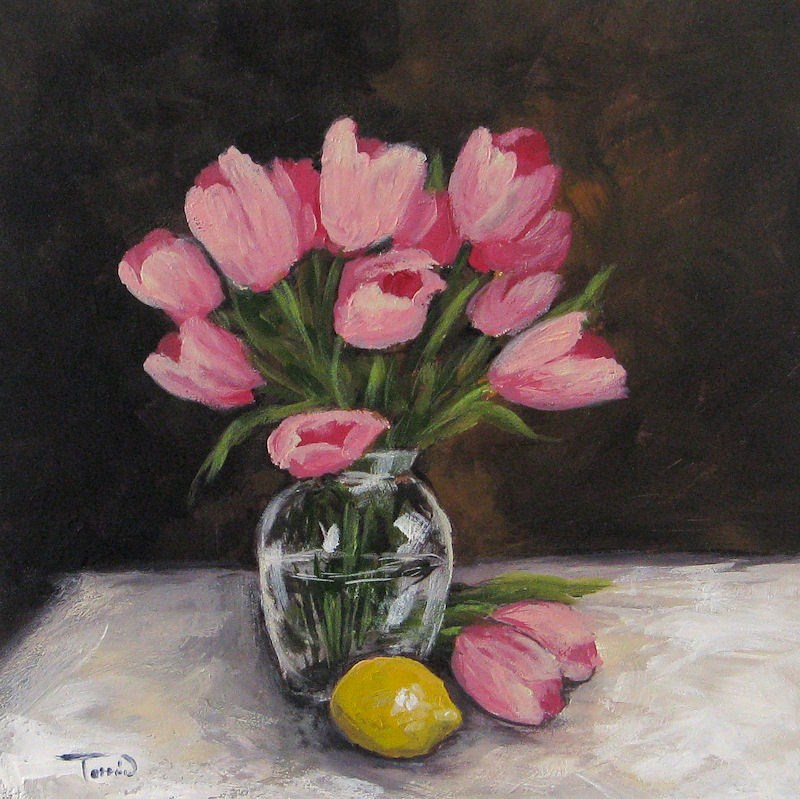 """Tulips and Lemon"" original fine art by Torrie Smiley"