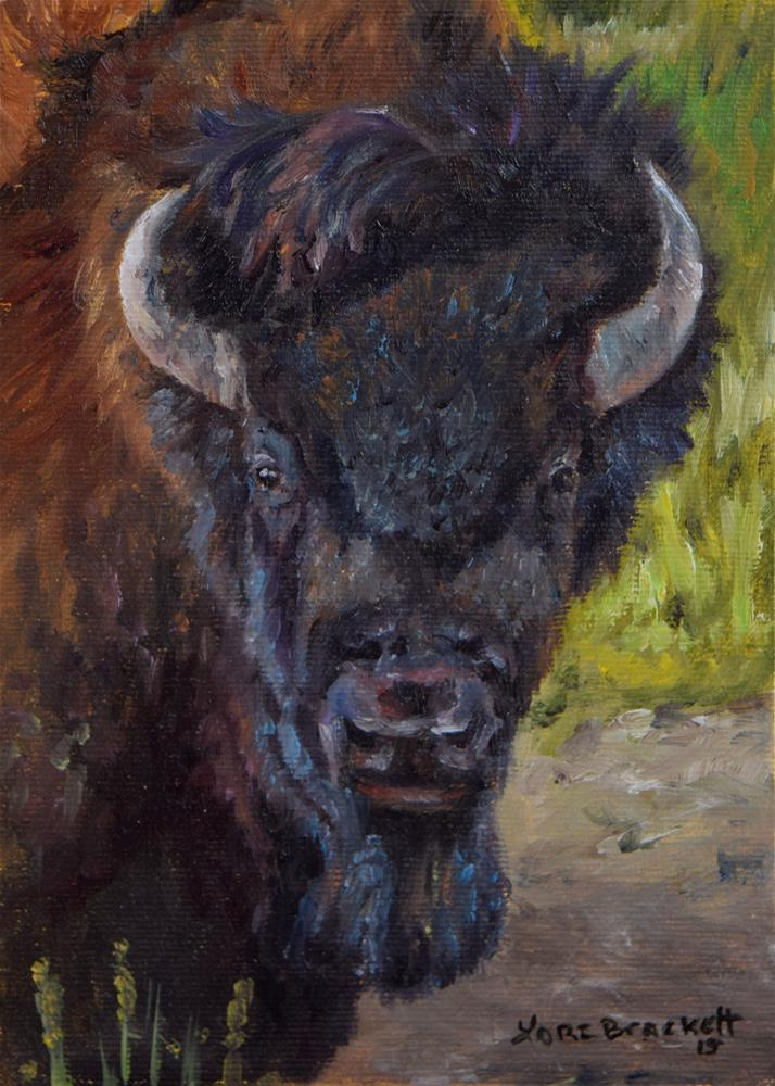 """Elvis the Bison"" original fine art by Lori Brackett"