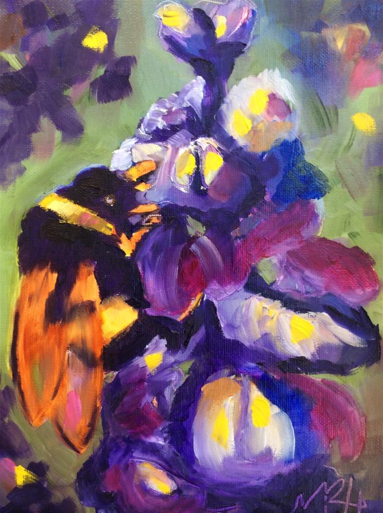 """Furry Bee Friend"" original fine art by Molly Rohrscheib Hathaway"