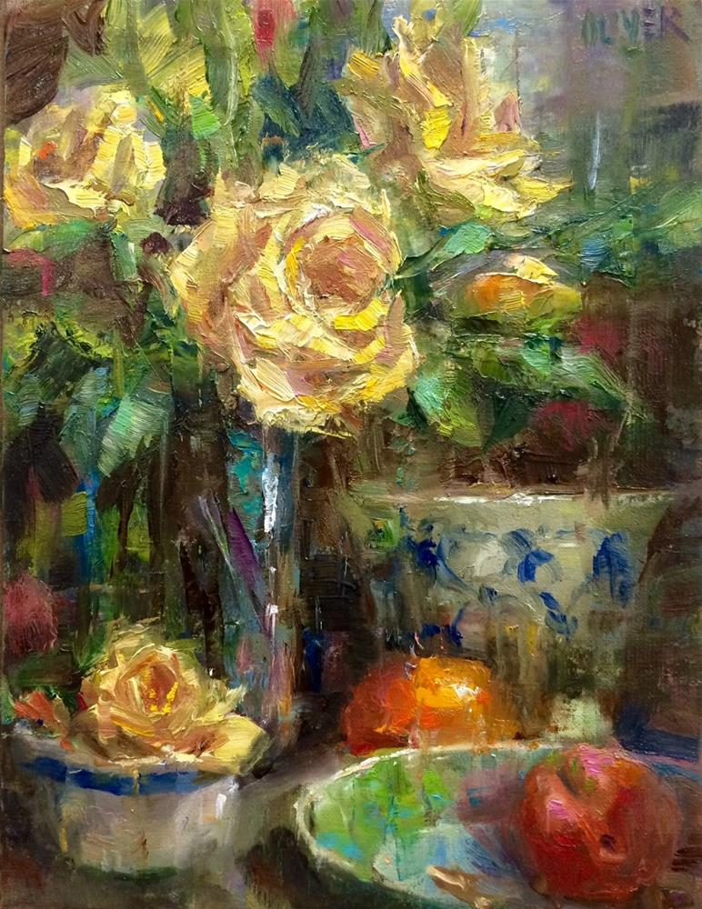 """Yellow Roses & Fruit"" original fine art by Julie Ford Oliver"