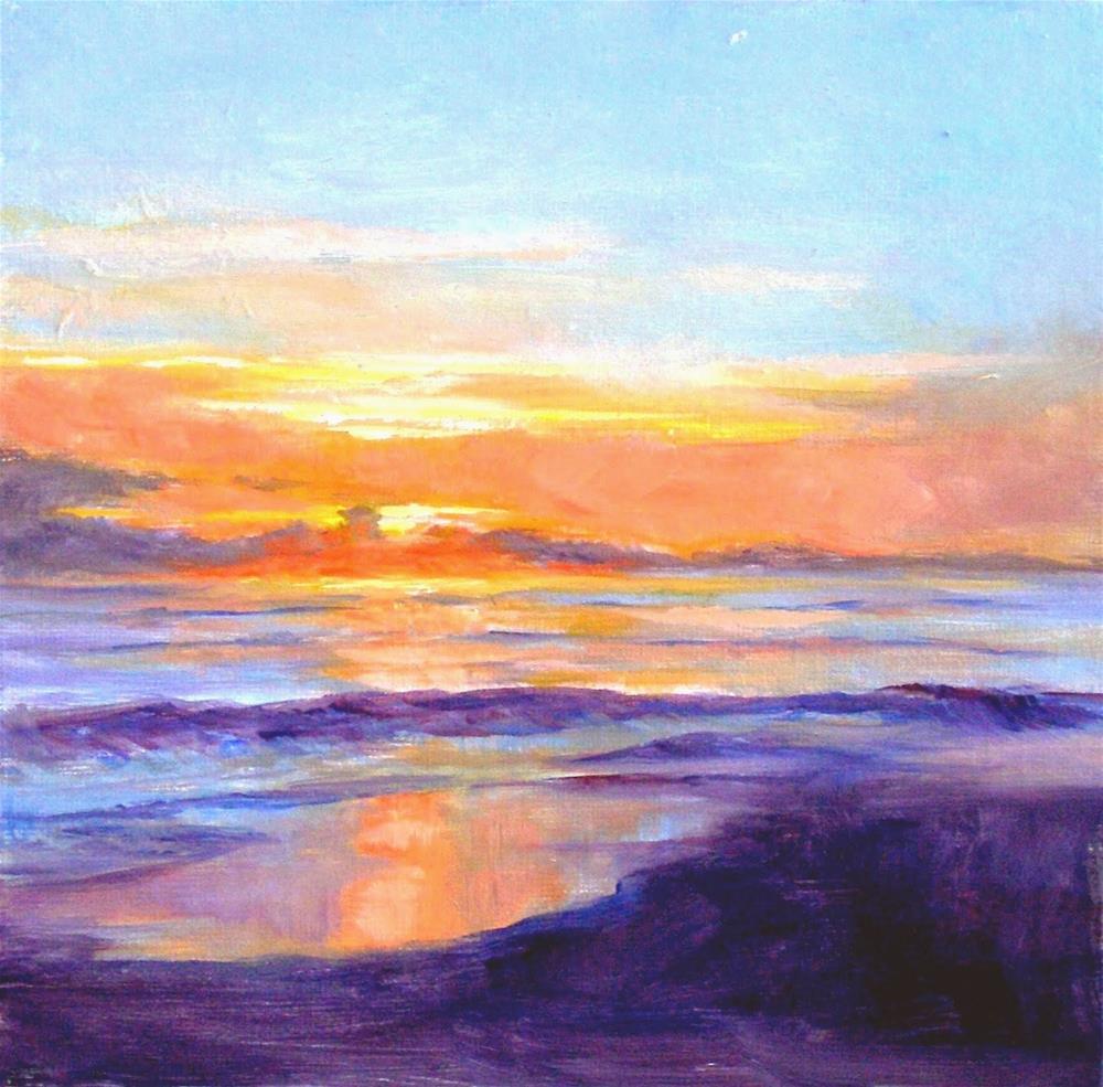"""Ocean Dawn, 8x8 Oil on Canvas"" original fine art by Carmen Beecher"
