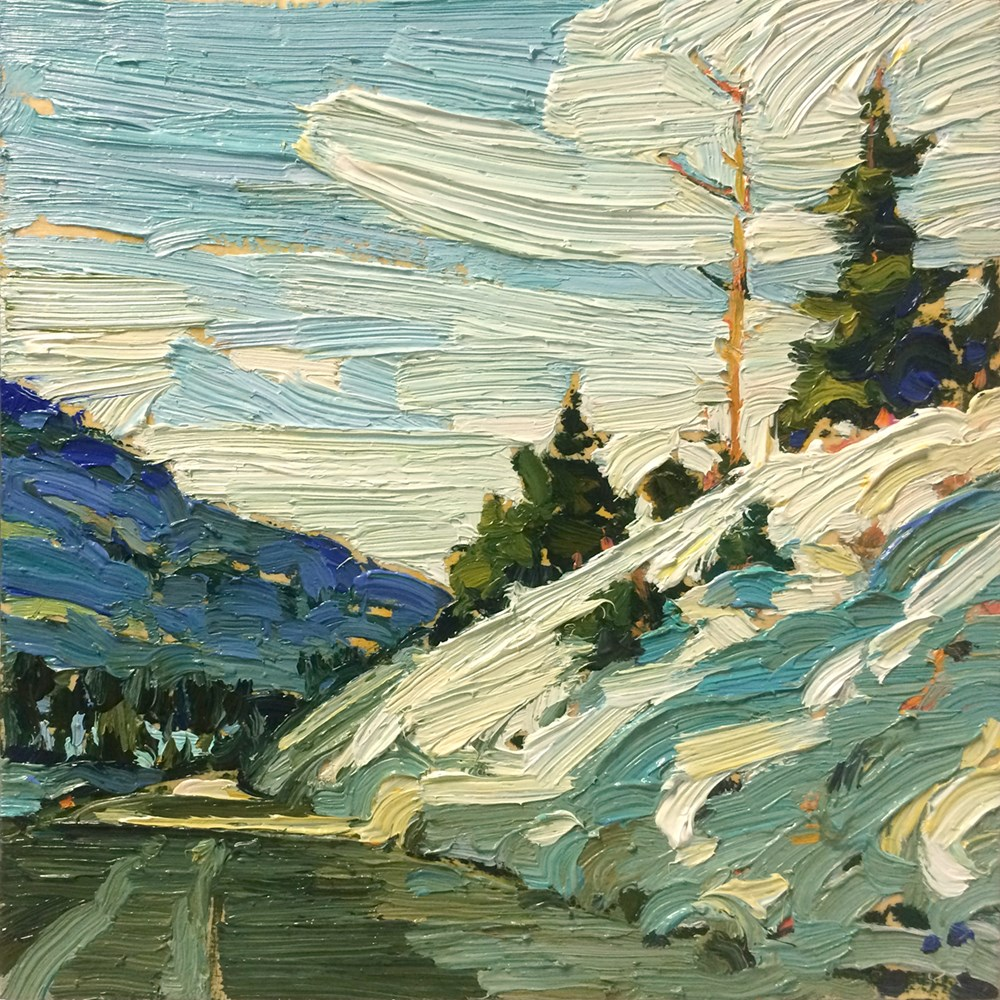 """Snowy Hill Side:  6x6  oil on panel"" original fine art by Ken Faulks"