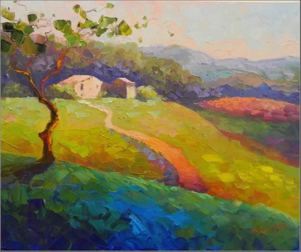 """Springtime in Umbria, 20x24, oil on wrapped canvas, Italian landscapes, Umbria, Tuscany, impasto,"" original fine art by Maryanne Jacobsen"