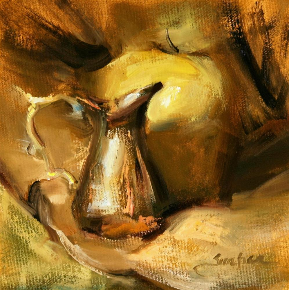 """Golden Apple and Vase"" original fine art by Scott Serafica"