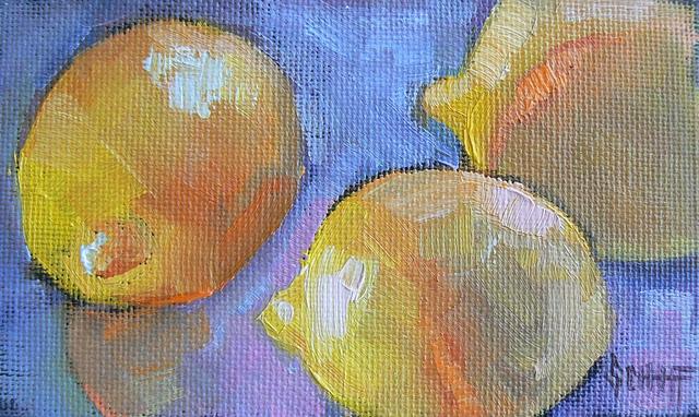 """Original Oil Still Life Food Mini Paintings, 3x5"" original fine art by Carol Schiff"