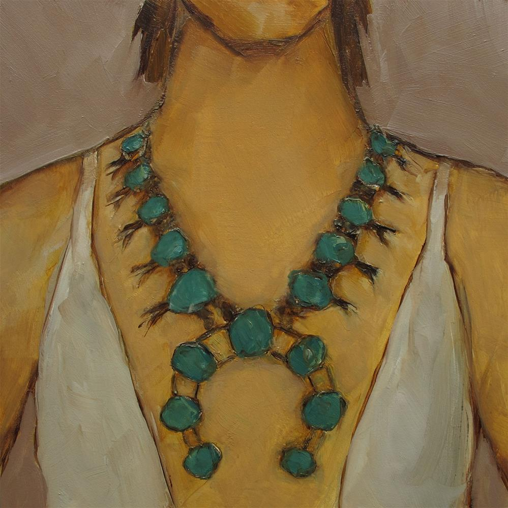 """SQUASHBLOSSOM Necklace Figure Abstract Portrait Original Art 6x6 Painting OIL"" original fine art by Colette Davis"