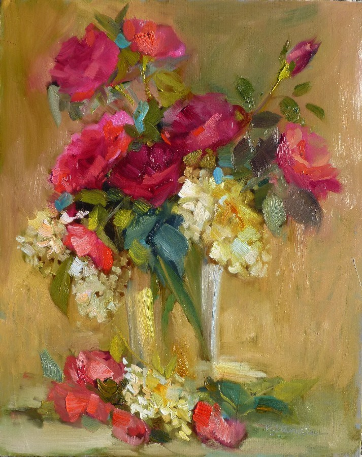 """August Roses 13061  SOLD"" original fine art by Nancy Standlee"