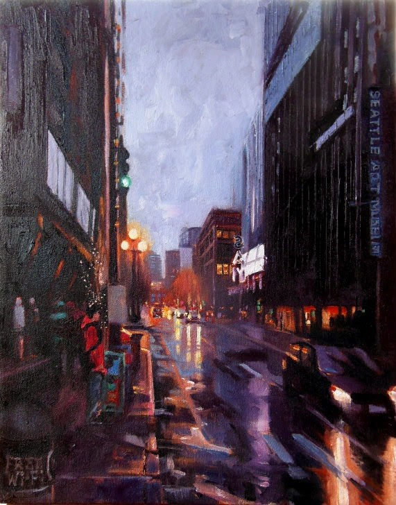 """First Thursday  Seattle cityscape by Robin Weiss"" original fine art by Robin Weiss"
