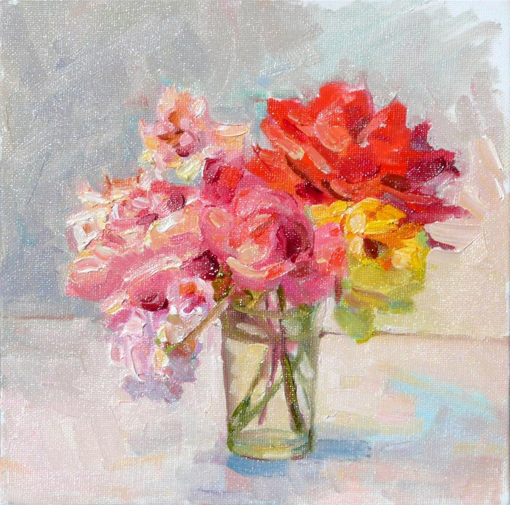 """Rose Collection,still life,oil on canvas,8x8,price$250"" original fine art by Joy Olney"
