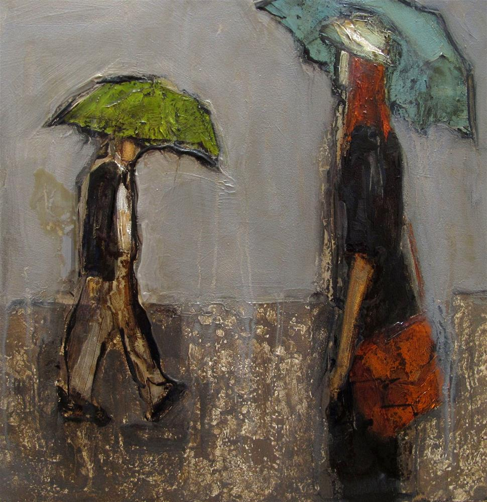 """UMBRELLA POLICY Original ABSTRACT FIGURE Art Painting OIL"" original fine art by Colette Davis"
