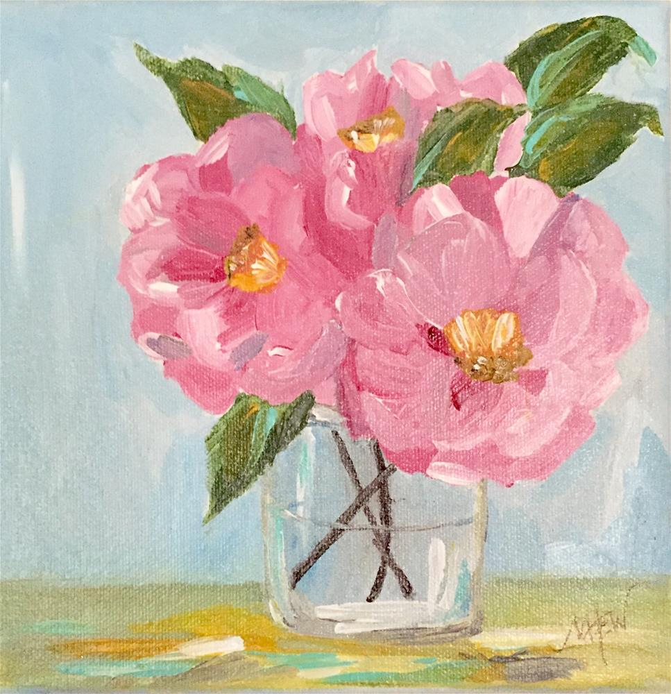 """Pink Camillias"" original fine art by Makenzi Tew"
