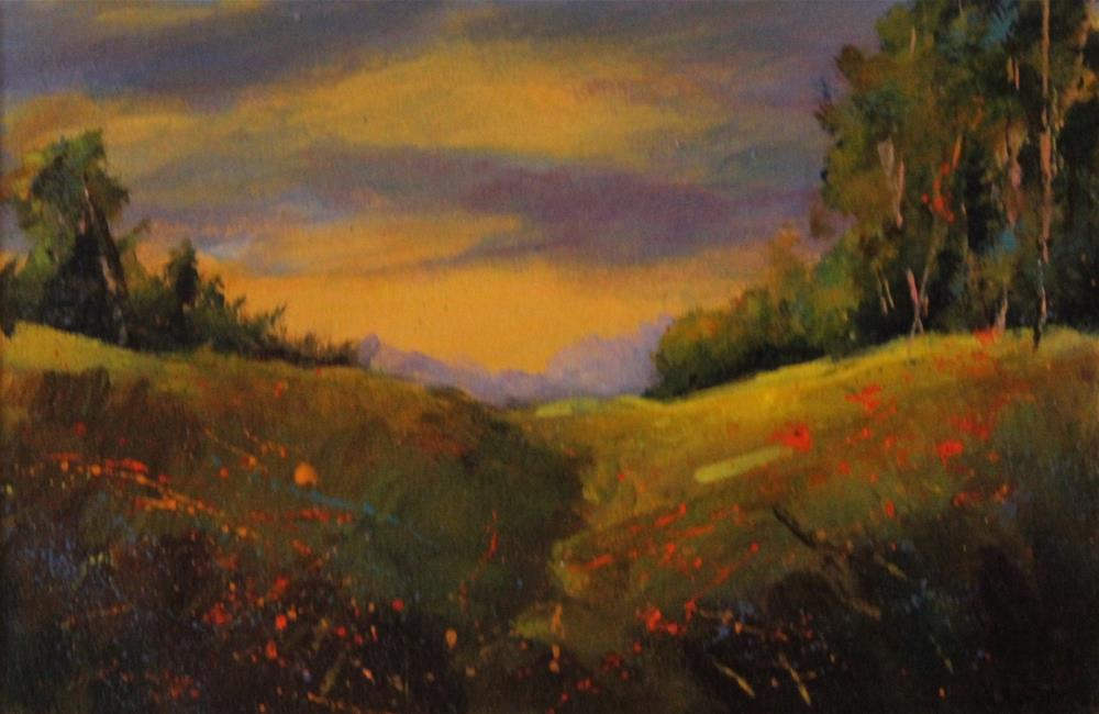 """Original acrylic meadow red flowers landscape art painting, sunset"" original fine art by Alice Harpel"